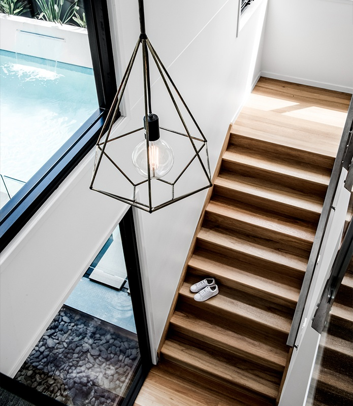 Architectural lighting over stairwell - Kalka - Custom and Luxury Home Builders Brisbane