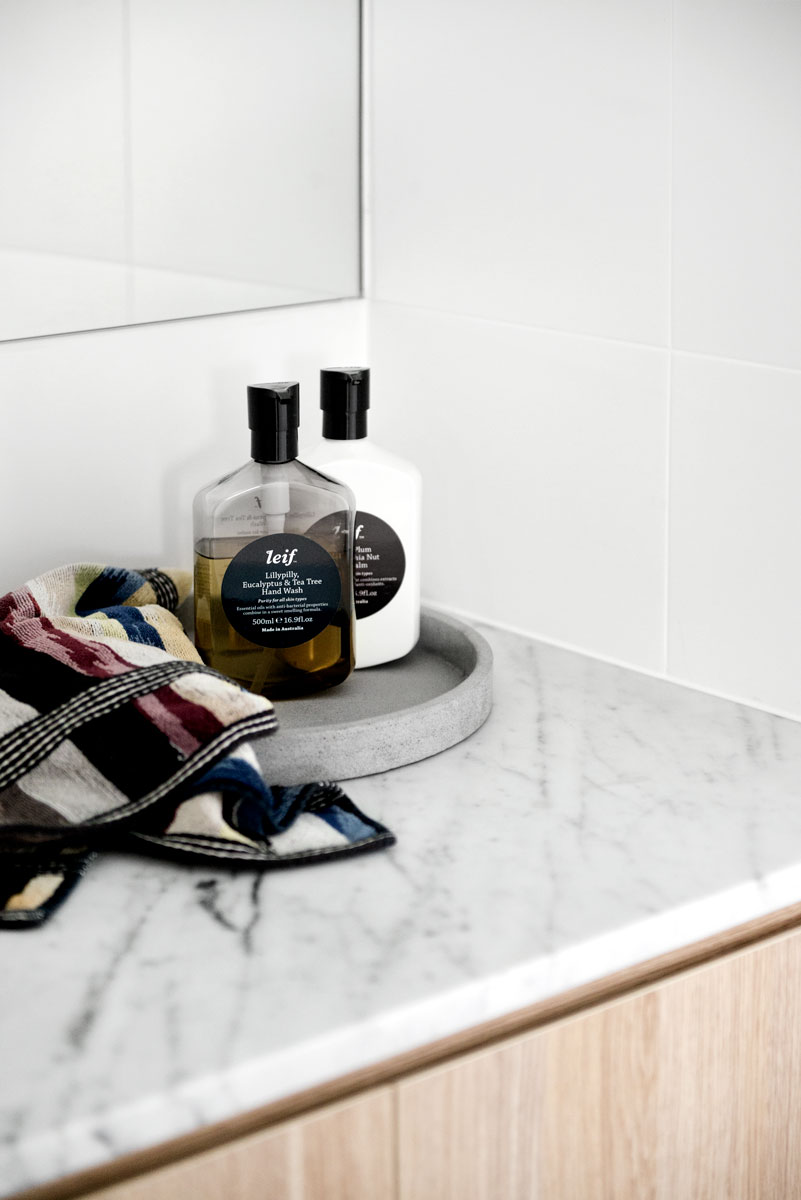 Reconstituted stone benchtop in a Kalka display home bathroom