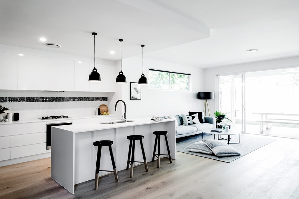 Kalka Manly display home kitchen and living space