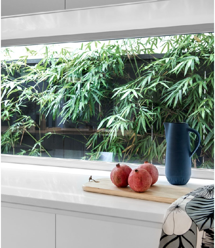 Kalka Wooloowin display home kitchen glass splashback