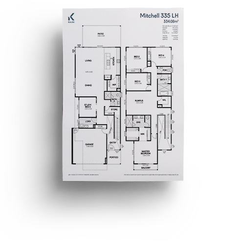 The Mitchell 335's large living and dining areas are perfect for celebrating the Queensland lifestyle. This luxury home design features an enclosed study.   Mitchell355-1