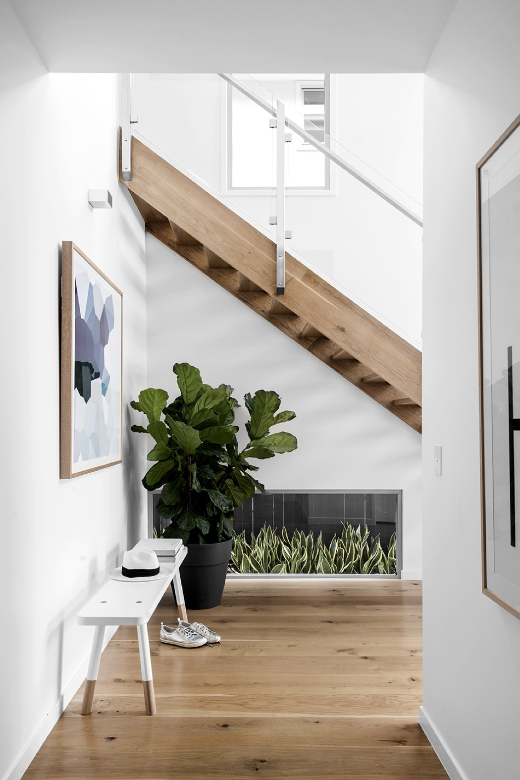 Brisbane custom home builder Kalka | Scandinavian style open tread staircase | Wooloowin display home