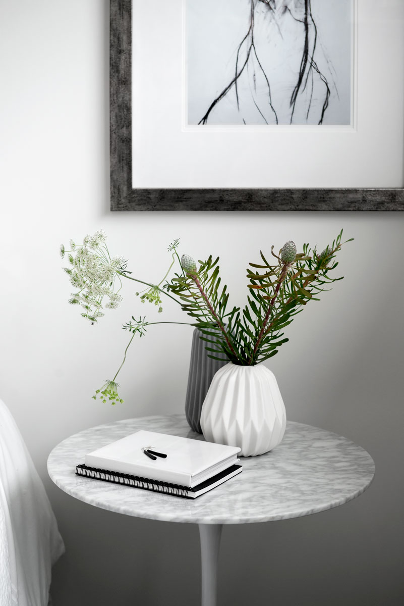 Small lot home builder Kalka | bedside table at Wooloowin display home