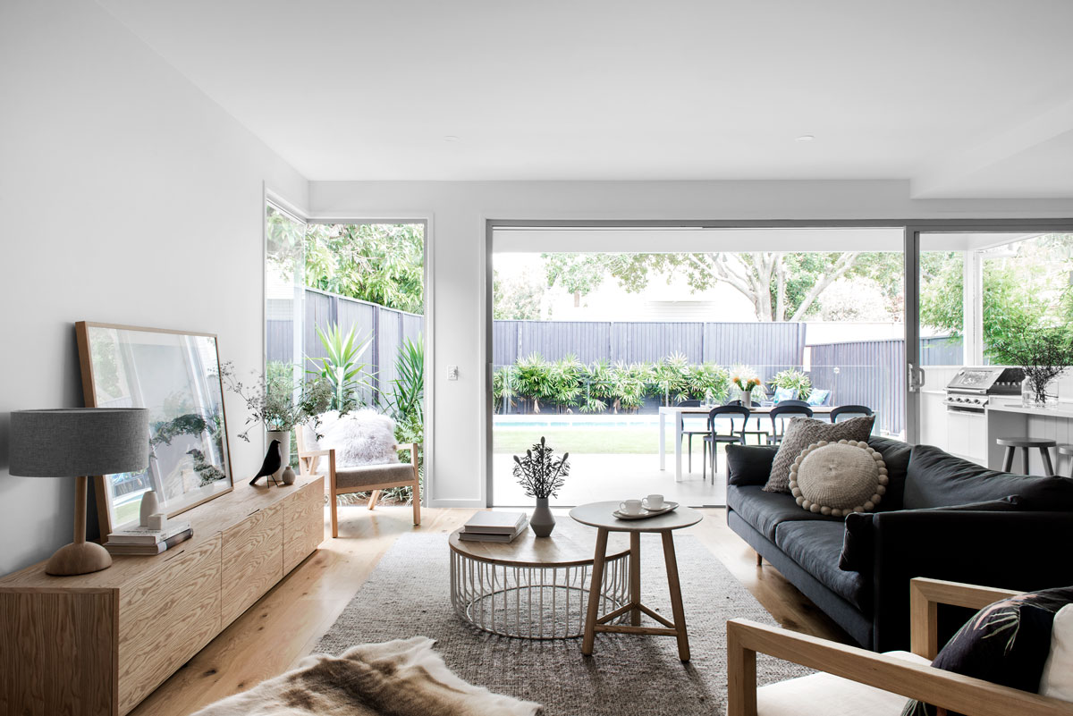 Queensland luxury builder Kalka | Scandinavian style interior design living room at a Wooloowin display home