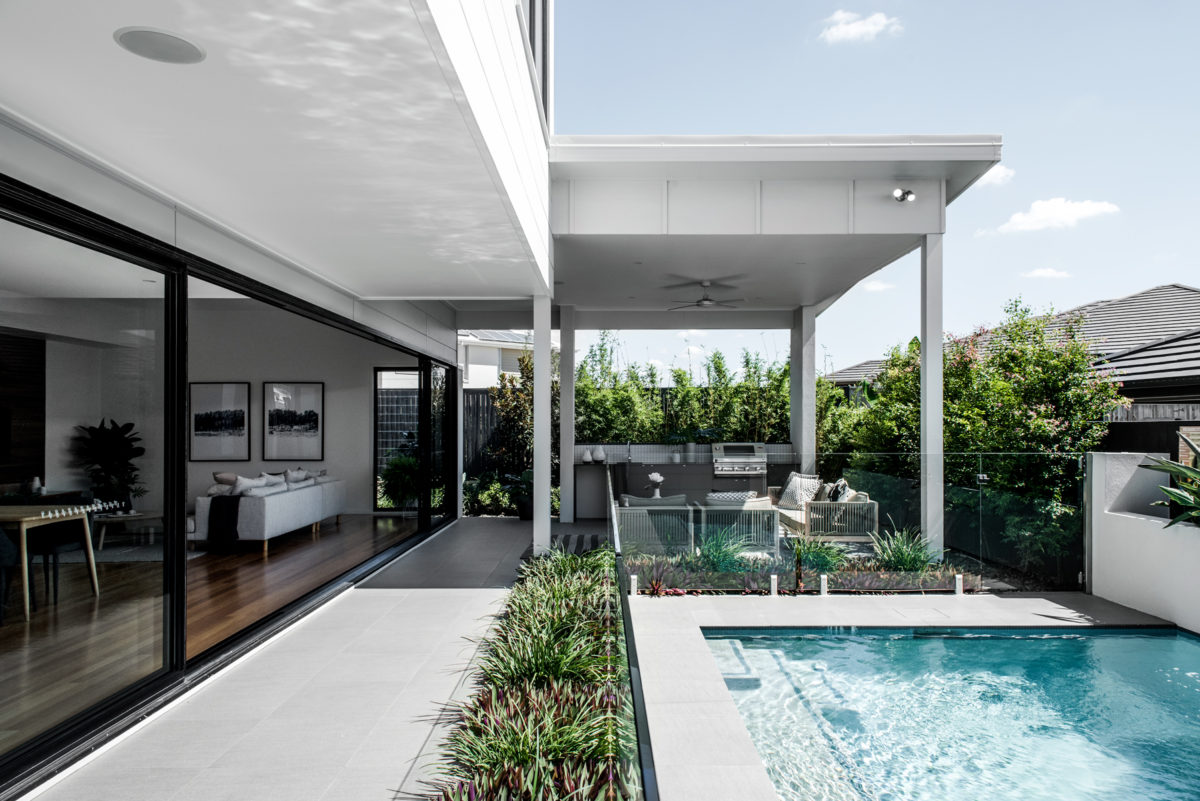 Gold Coast Luxury Home Builder Kalka | External Shot Of Outdoor  Entertainment Space And Pool In
