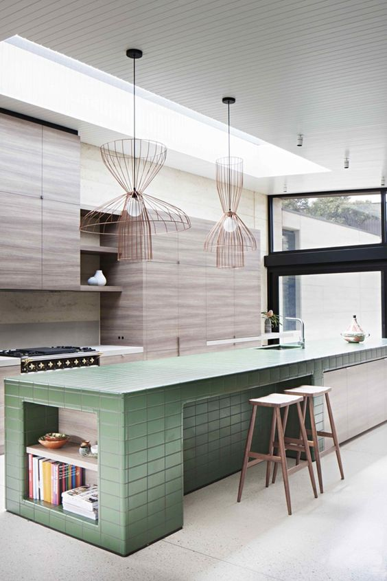 Feature colour tiling to this kitchen island bench creates personality and interest. Image courtesy of Pinterest.