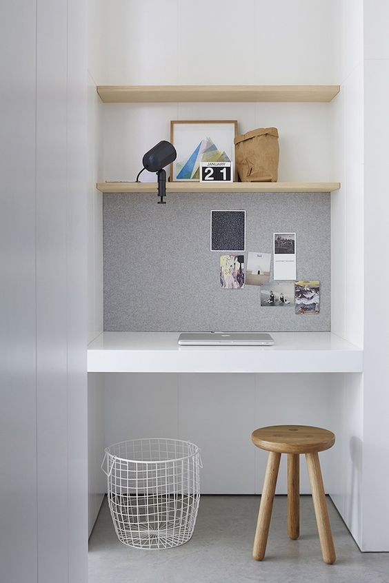 Study nook with pinboard and stool