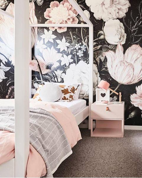 Dark floral wall paper by Anewall, creating drama and interest in this beautiful bedroom.